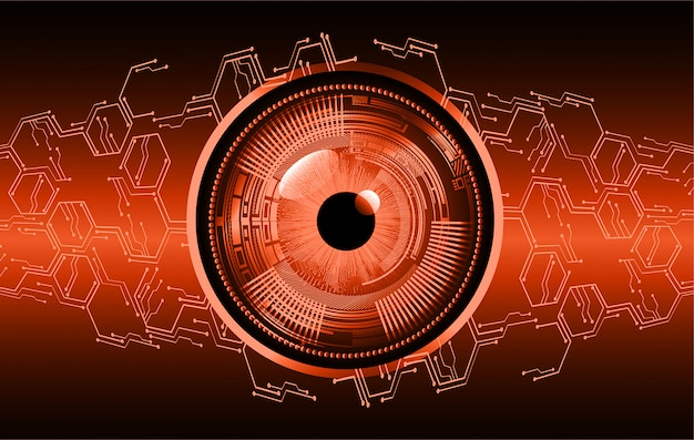 Orange eye cyber circuit future technology concept background