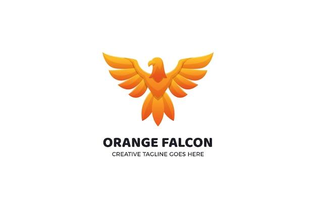 オレンジ色の鷹の動物のロゴのテンプレート