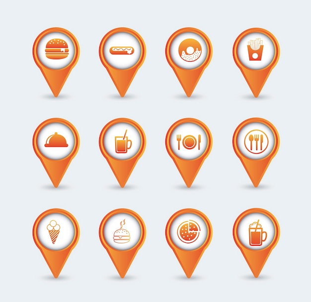 Orange fast food icons over white background vector