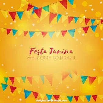 Orange festa junina background