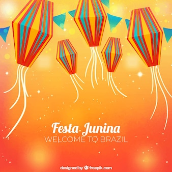 Orange festa junina background