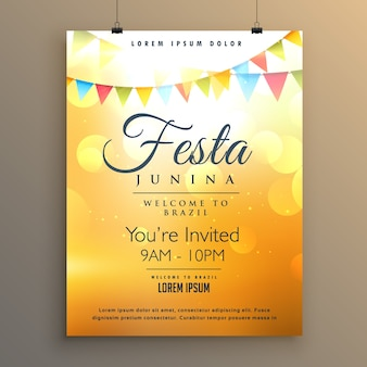 Orange festa junina poster template