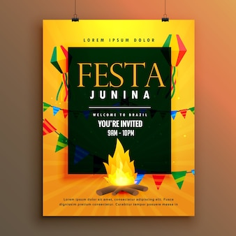 Orange festa junina poster with bonfire