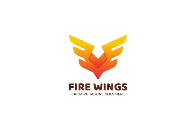 オレンジ色の火の翼ビジネスロゴテンプレート