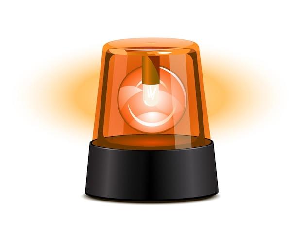 Orange flashing light over a white background