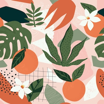 Orange floral and abstract shapes seamless pattern
