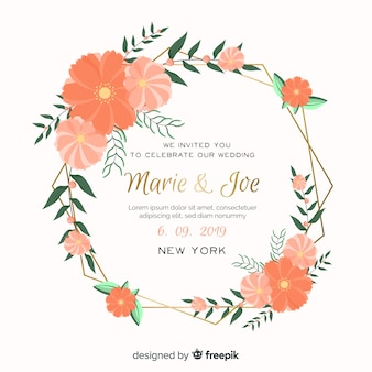 Orange floral frame wedding invitation