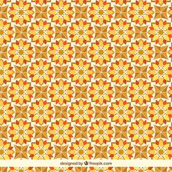Orange floral tile pattern