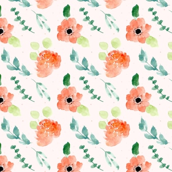Orange floral watercolor seamless pattern
