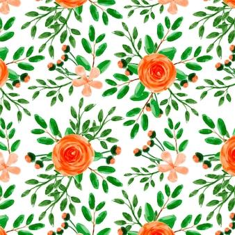 Orange floral watercolor seamless pattern