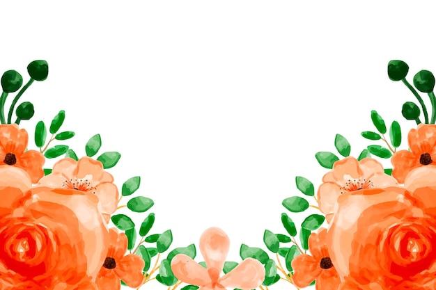 Оранжевый цветочный фон с акварелью