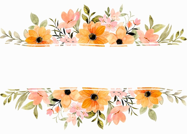 Orange flower frame border with watercolor