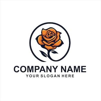 オレンジ色の花のロゴ