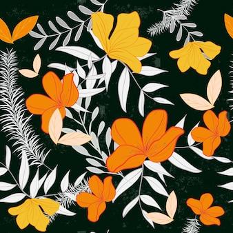 オレンジ色の花のパターン