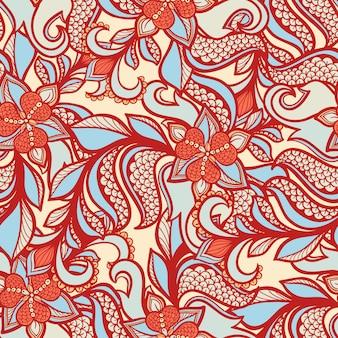 오렌지 꽃과 잎 평면 디자인