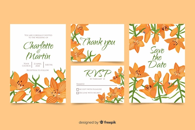 Orange flowers wedding invitation template