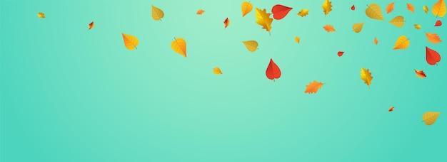 オレンジ色の葉ベクトル青いパノラマの背景。紙の葉のデザイン。赤い木の植物のテクスチャ。フライングカード。