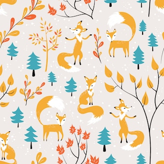 Orange fox in forest seamless pattern