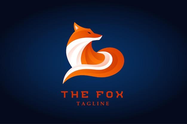 オレンジキツネのグラデーションのロゴのベクトル
