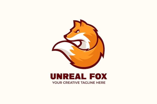 Orange fox mascot character logo template