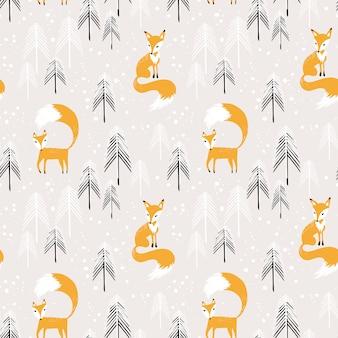 Orange fox in winter forest seamless pattern