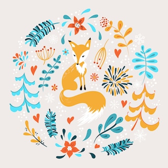 Orange fox with winter flowers and snowflakes