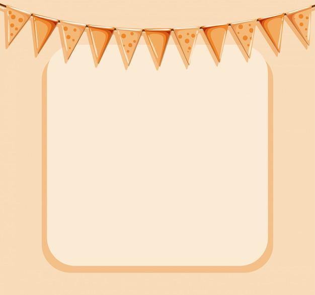 オレンジ色のフレームとフラグ