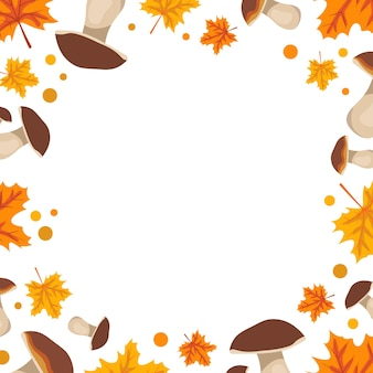 Orange frame with mushrooms and maple leaves bright autumn border with gifts of nature with empty pl...