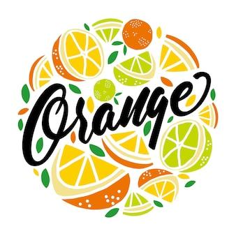Orange fresh fruit lettering round badge