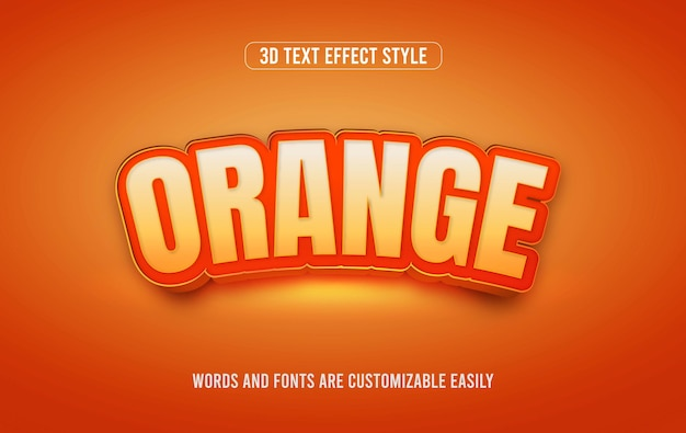 오렌지 과일 3d 편집 가능한 벡터 텍스트 효과 스타일