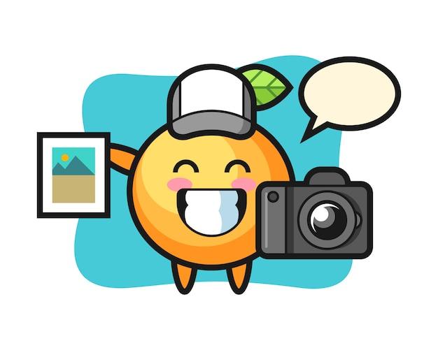写真家としてのオレンジ色の果物の漫画