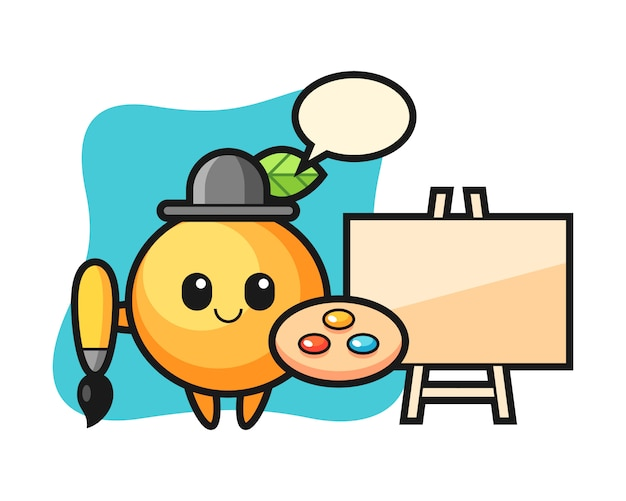 Orange fruit cartoon as a painter
