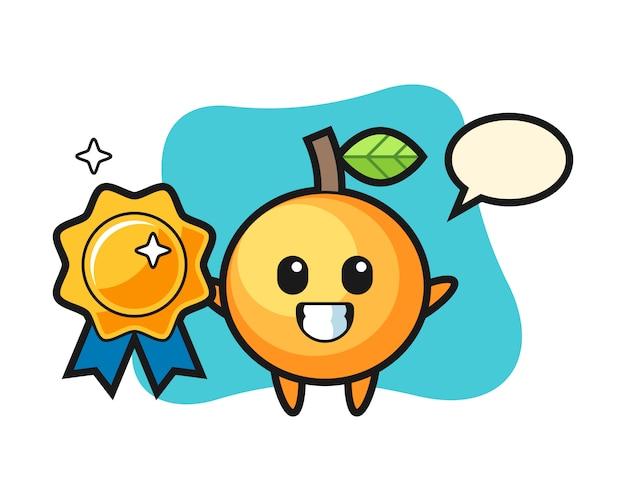 황금 배지를 들고 오렌지 과일 만화
