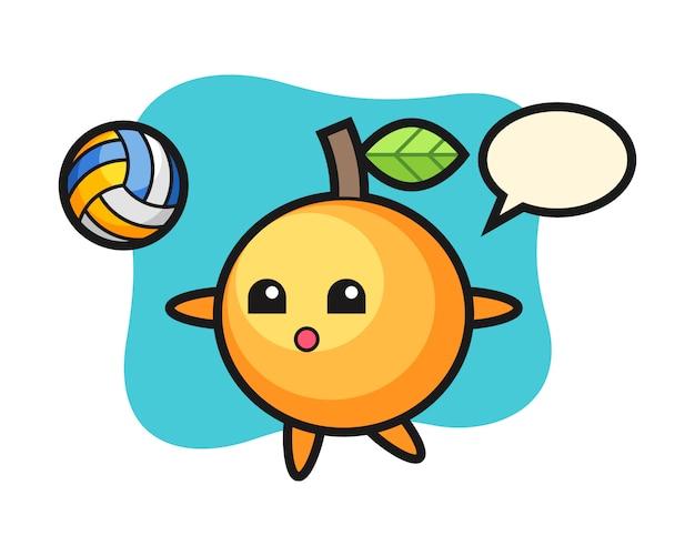Мультфильм оранжевых фруктов играет в волейбол
