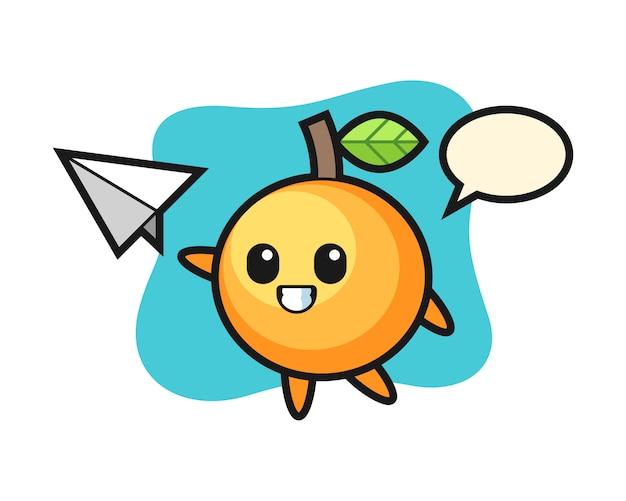 종이 비행기를 던지는 오렌지 과일 만화