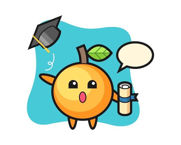 卒業時に帽子を投げるオレンジ色の果物の漫画
