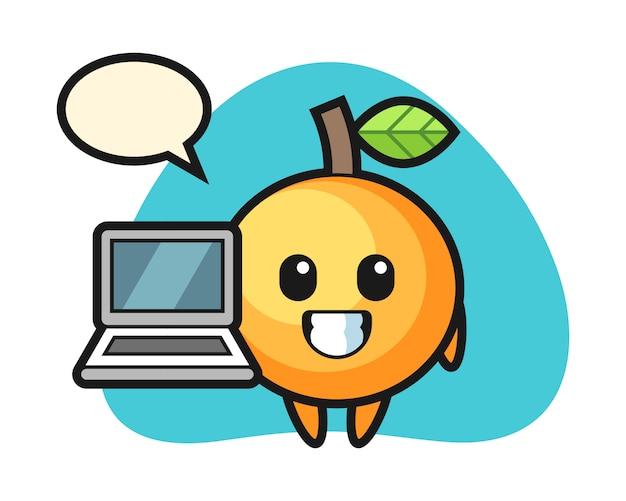 노트북으로 오렌지 과일 만화