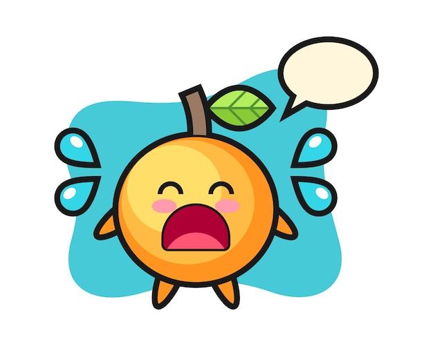 泣いているジェスチャーとオレンジ色の果物の漫画