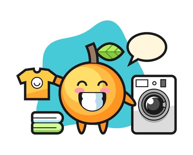 Мультяшный апельсин со стиральной машиной