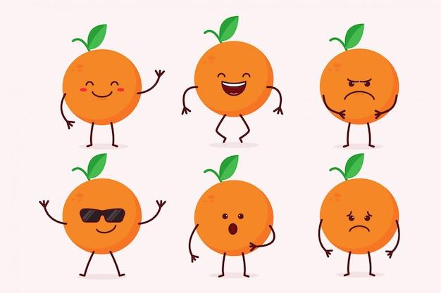Orange fruit character set
