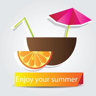 オレンジフルーツカクテルとやる気を起こさせる写真-あなたの夏をお楽しみください