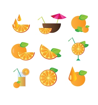 Orange fruit cocktail set