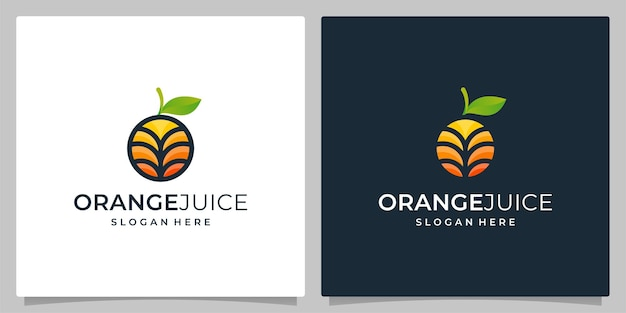 オレンジ色のフルーツデザインフラットカラーフルとモダンなスタイルのベクトル