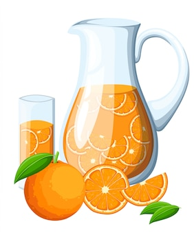 Orange fruit drink in the glass pitcher. orange with leaves whole and slices of oranges. decorative poster, emblem natural product, farmers market.  on white background.