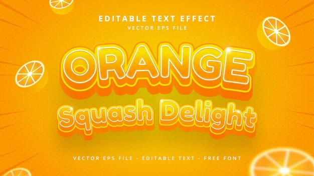 오렌지 과일 편집 가능한 3d 벡터 텍스트 스타일 효과입니다. 편집 가능한 일러스트레이터 텍스트 스타일입니다.
