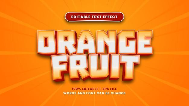 현대적인 3d 스타일의 오렌지 과일 편집 가능한 텍스트 효과