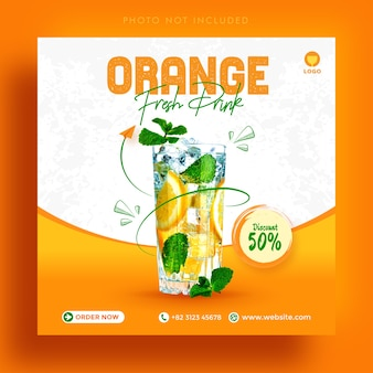 オレンジフルーツフレッシュドリンクプロモーションソーシャルメディアinstagram投稿広告バナーテンプレート Premiumベクター