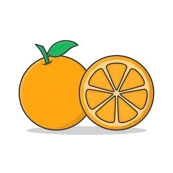 Orange fruit   icon illustration. whole and slice of orange flat icon