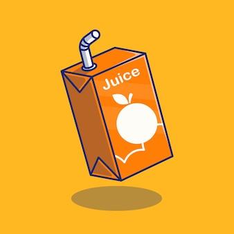 箱の包装のオレンジフルーツジュースのイラストデザインプレミアム孤立した動物のデザインコンセプト