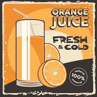 Orange fruit juice signage poster retro rustic classic